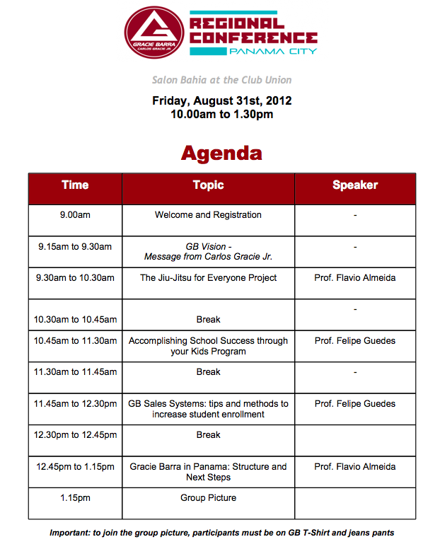 """Gracie Barra Agenda for Panama JiuJitsu Conference"""